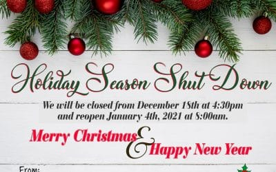 Holiday Season Shut Down